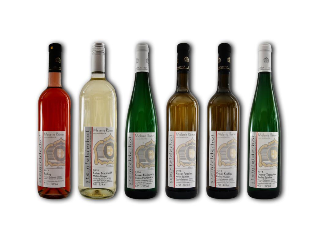 Sechs Flaschen des Weinprobierpaket lieblich